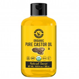 Organic Castor Oil (300 ML) USDA Certified Cold-Pressed, 100% Pure, No GMO, NO Heat treatment, Hexane Free Castor Oil - Moisturizing & Healing, For Dry Skin, Hair Growth, Massage, Hair Care, Eyelashes, Lash Growth