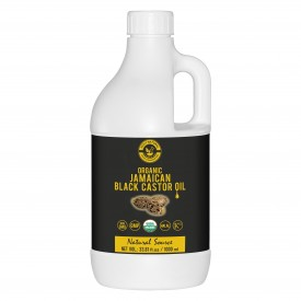 Organic Jamaican black Castor Oil (1000 ML) USDA Certified, Traditional Handmade with Typical and Traditional roasted castor beans smell,100% Pure black Castor Oil (No Additive, No preservative)