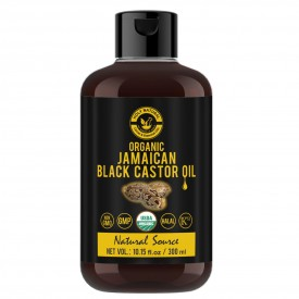 Organic Jamaican black Castor Oil (300 ML) USDA Certified, Traditional Handmade with Typical and Traditional roasted castor beans smell,100% Pure black Castor Oil (No Additive, No preservative)