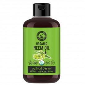 Organic Neem Oil (300 ML) USDA Certified, 100% Pure & Natural, Virgin Cold Pressed Neem Oil – Good for Dry Skin to Moisturize, Healthy Scalp Condition, Dandruff Free Hair