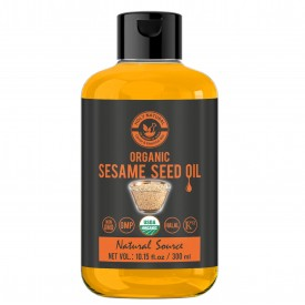 Organic Sesame Seed Oil(300 ML)USDA Certified, Extra Virgin Cold-Pressed, 100% Pure & Natural, No GMO,Untreated and Unrefined Sesame Seed Oil -Grate for Cooking & Flavor Enhancer in Many Cuisines